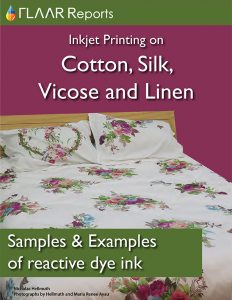 Samples and Examples of Reactive Ink: Inkjet printing on cotton, silk, viscose and linen