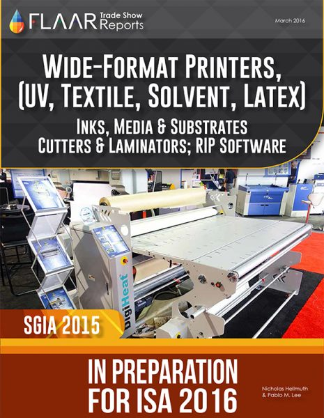 SGIA 2015 UV cured textile T shirt inks media cutters in preparation for ISA 2016