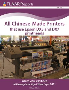 All Chinese-Made printers using Epson DX5 and DX6 printheads at Guangzhou China Sign Expo 2011