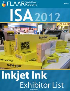 ISA 2012 Inkjet inks exhibitor list 2013