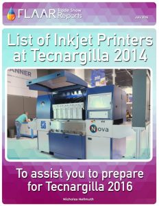 List of Inkjet Printers at Tecnargilla 2014 in preparation for 2016