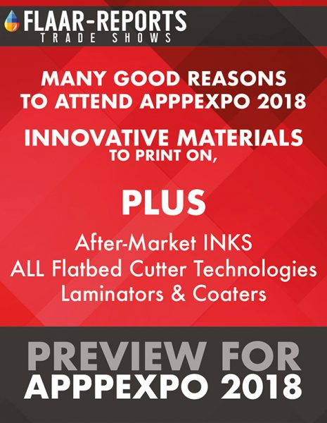 APPPEXPO-2018-FLAAR-Reports-preview-media-substrates-inks-flatbed-cutters-laminators-coaters - Front Cover