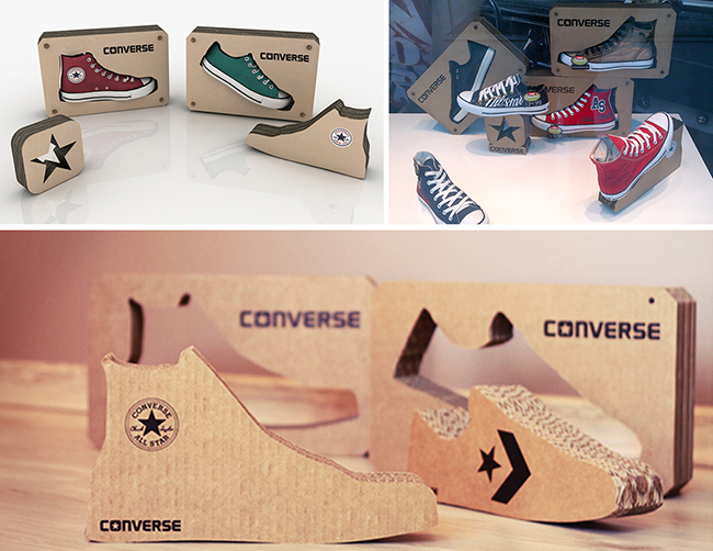 Converse-cardboars-honeycomb-display-shoes-window
