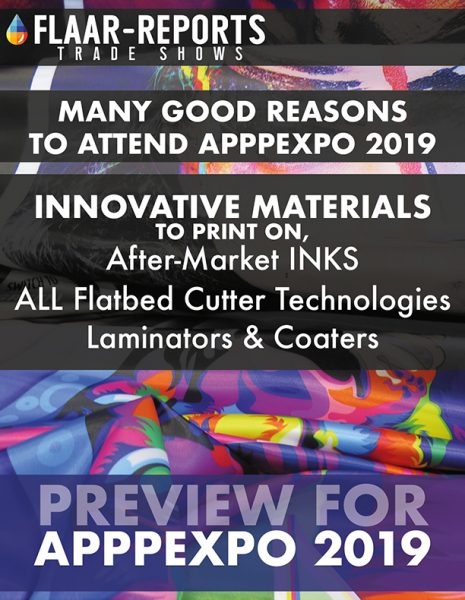 APPPEXPO-2019-FLAAR-REPORTS-preview-media-substrates-inks-flatbed-cutters-laminators-coaters - Front Cover