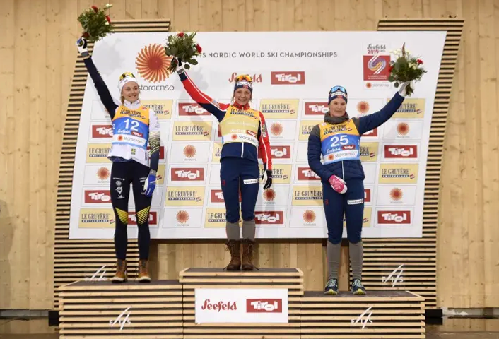 Winner podium for the FIS Nordic World Ski Championships in Seefeld 2019. Photo courtesy of www.seefeld.com.