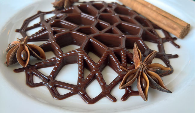 Printed chocolate decoration. Photo courtesy of sculpteo.com