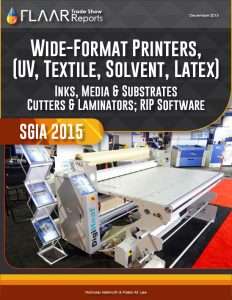 SGIA 2015 UV cured textile T-shirt inks media cutters